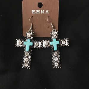 Turquoise and Silver Cross Earrings